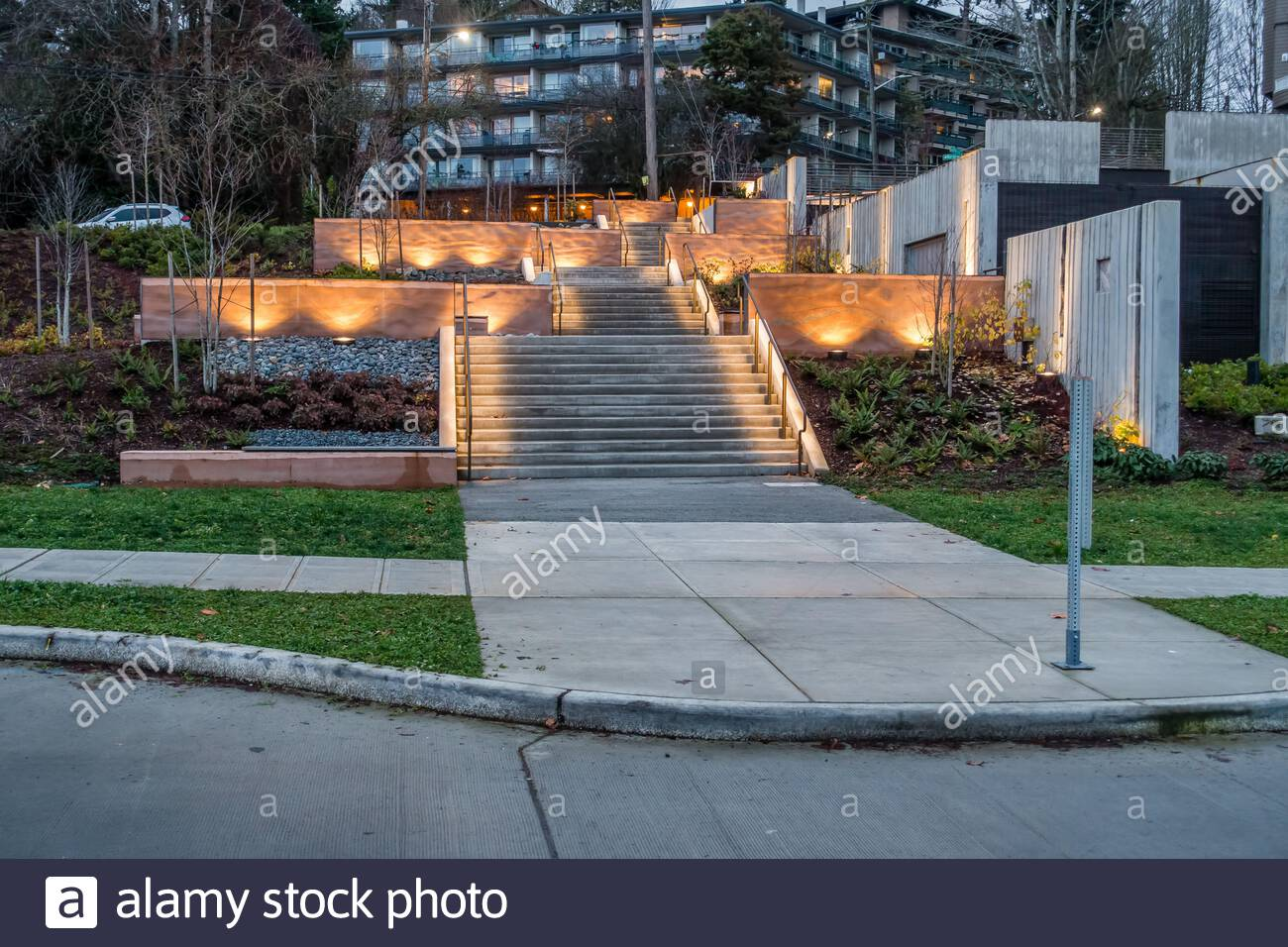 A Outdoor Stairway In West Seattle Is Lit By Soft Lights Stock Photo Alamy