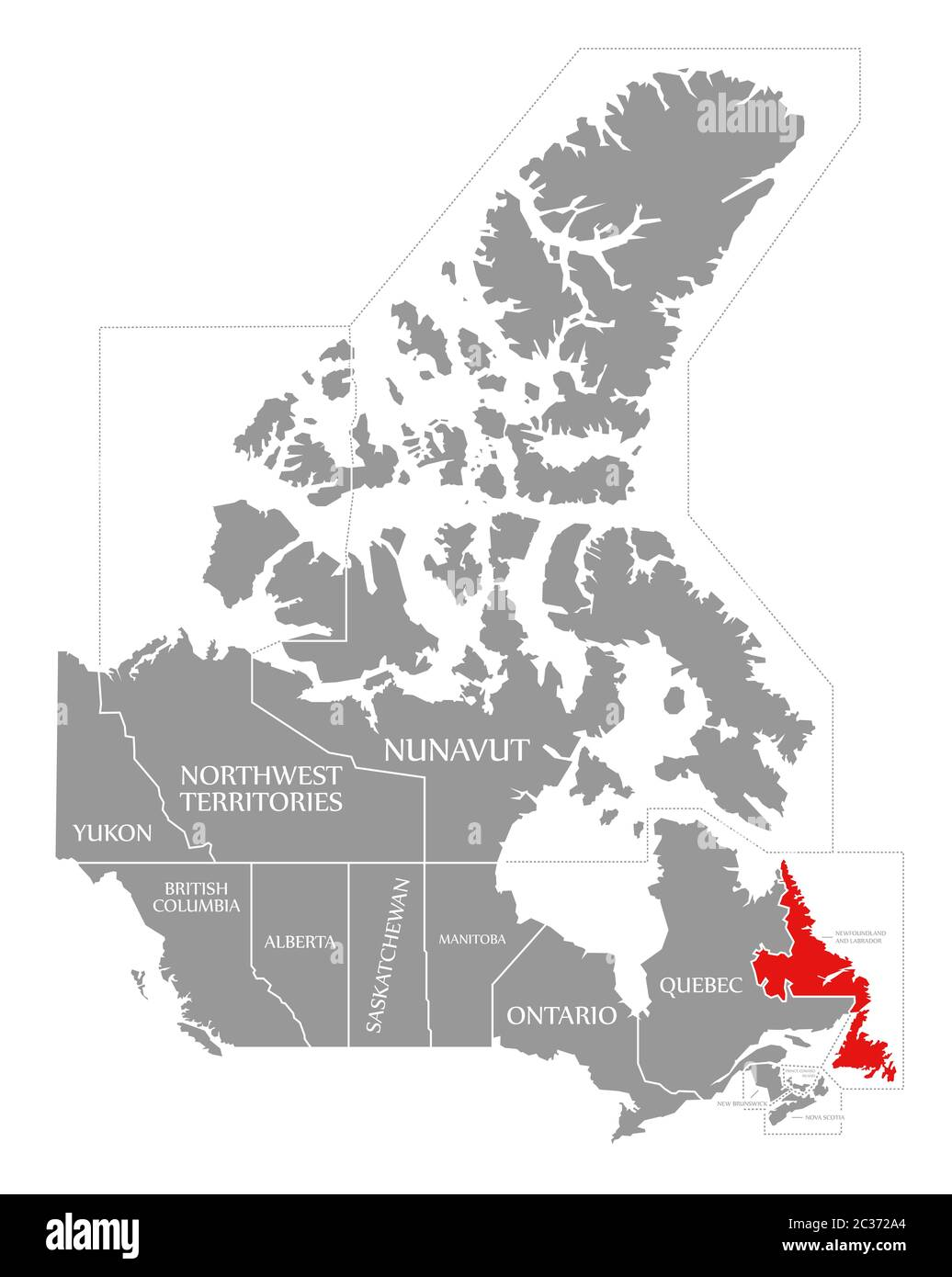 Picture of: Newfoundland And Labrador Map High Resolution Stock Photography And Images Alamy