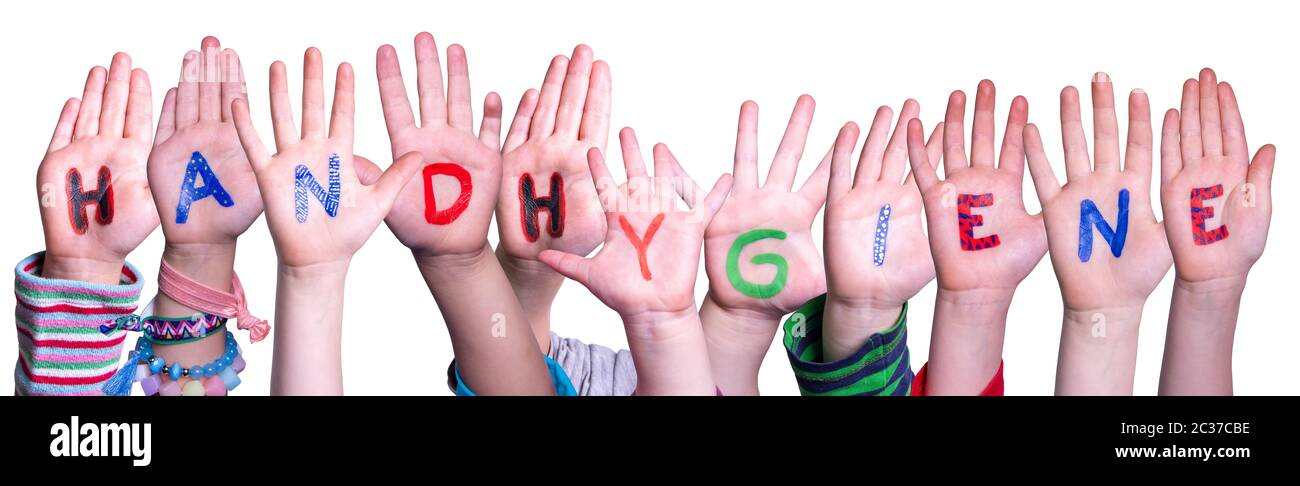 Kids Hands Holding Colorful German Word Handhygiene Means Hand Hygiene. White Isolated Background Stock Photo