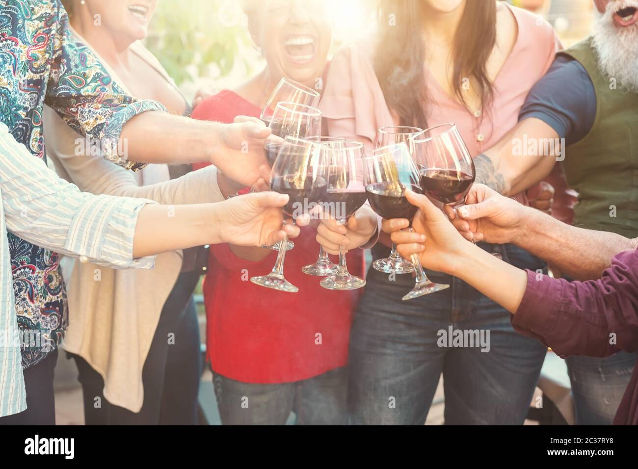 Happy family toasting with red wine glasses at dinner outdoor - People having fun cheering and drinking while dining together Stock Photo