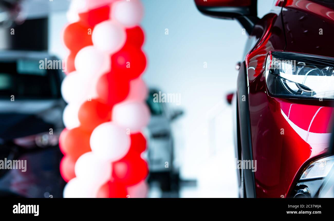 Closeup Headlights Of Red Suv Car New Luxury Suv Car Parked In Modern Showroom With Sale Promotion Events Car Dealership Office Electric Car Busine Stock Photo Alamy