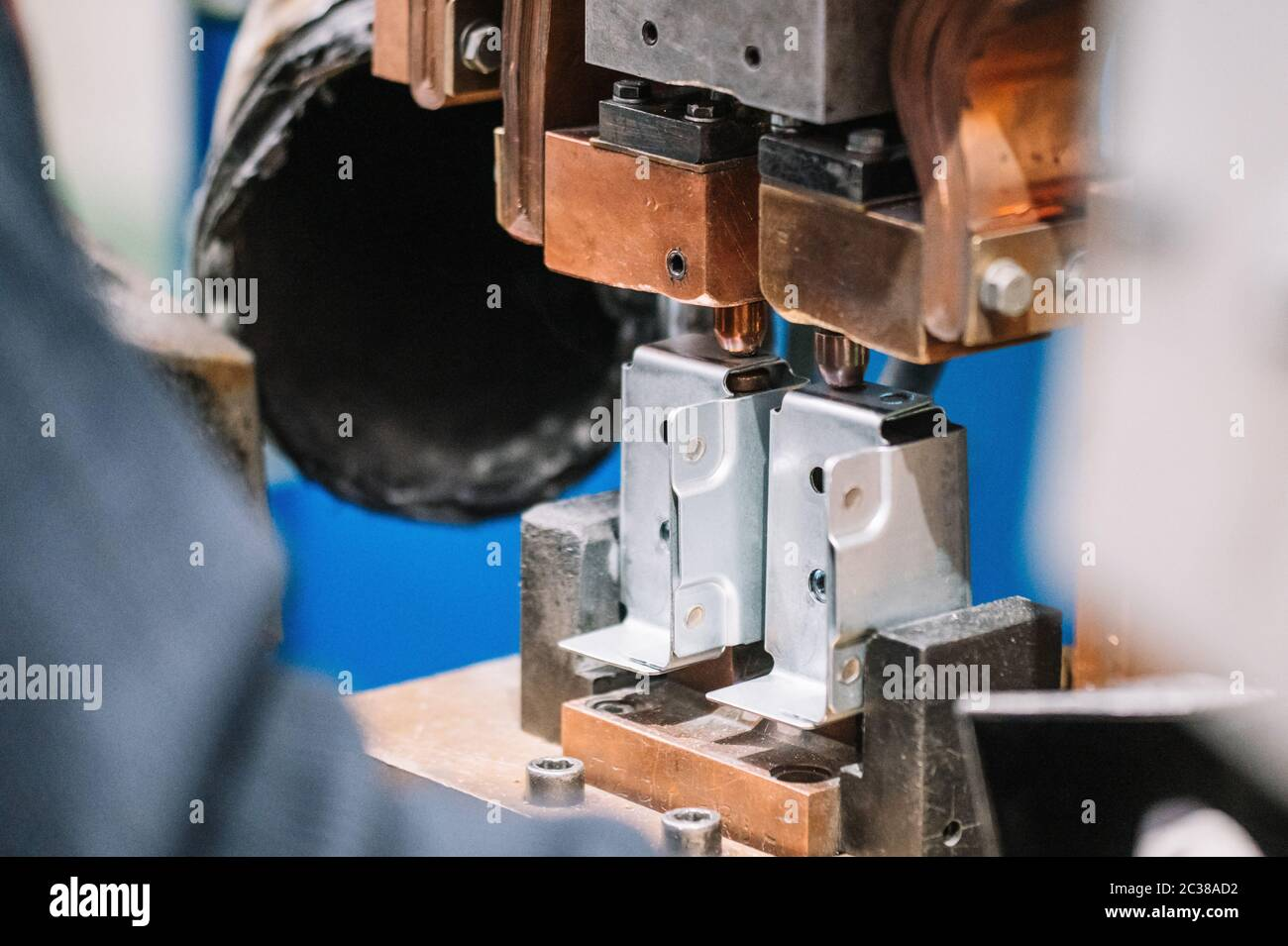 Spot Welding Machine Industrial Automotive Part In Factory Operator Working In Industry Stock Photo Alamy