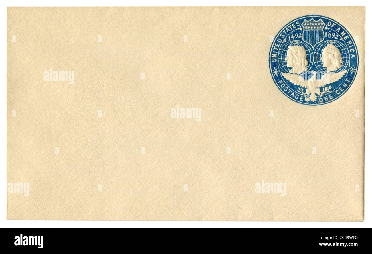 US blanked historical envelope with blue imprinted commemorative postage stamp, landing of Christopher Columbus, 1492-1892,  One cent, The USA Stock Photo