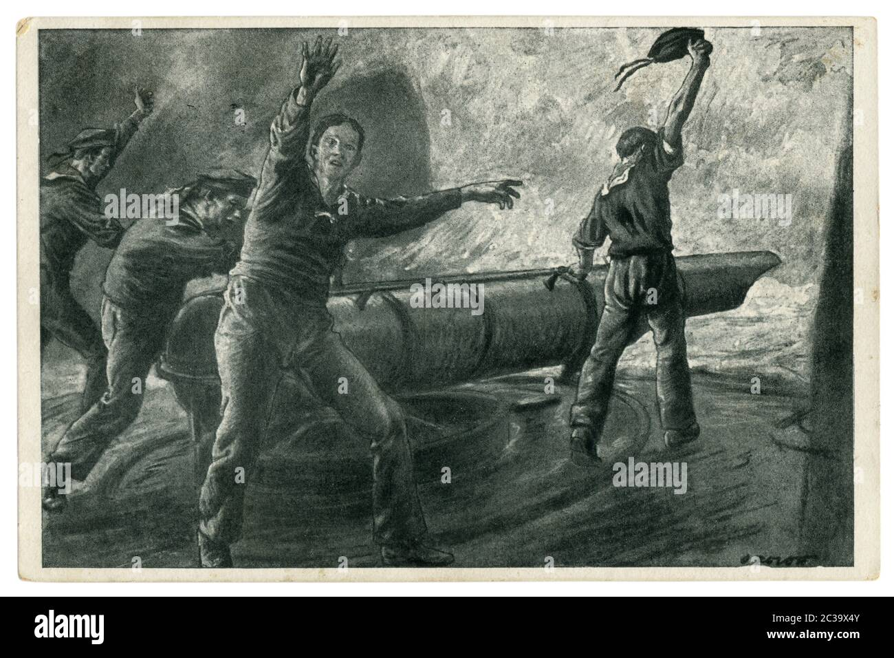 German historical postcard: Navy sailors on Board a warship at the torpedo tube to launch a torpedo. Sea battle, world war one 1914-1918. Germany Stock Photo