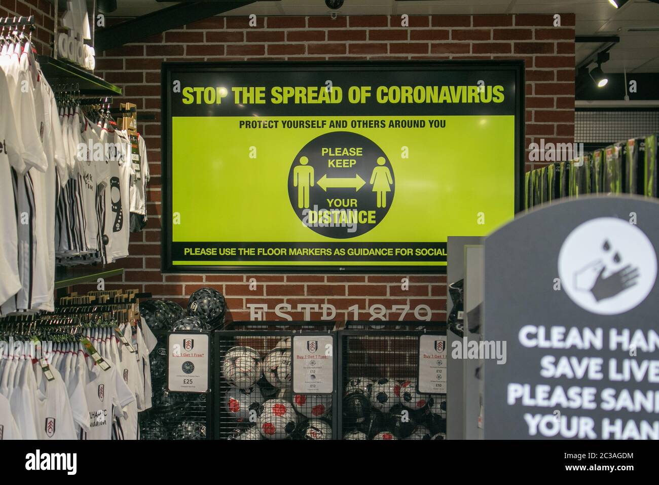 FULHAM, LONDON UK. 19 June 2020. Social distancing precautions at The Fulham Football Club store at Craven Cottage  against Covid-19  as the English championships prepares to resume play  tomorrow (Saturday 20 June)  more than 3 months after it was suspended due to the Coronavirus Covid-19 pandemic. Credit: amer ghazzal/Alamy Live News Stock Photo