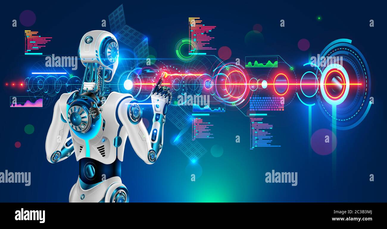 Robot or humanoid cyborg working with abstract tech hologram interface. Futuristic AI in industry 4.0 develops industrial virtual drawings details Stock Vector