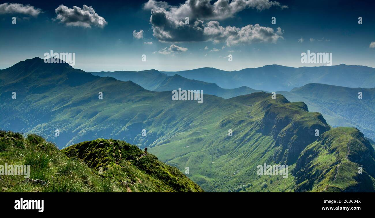View from the summit of Puy Mary, Auvergne Volcanoes Regional Nature Park,  Cantal, Auvergne-Rhone-Alpes, France Stock Photo