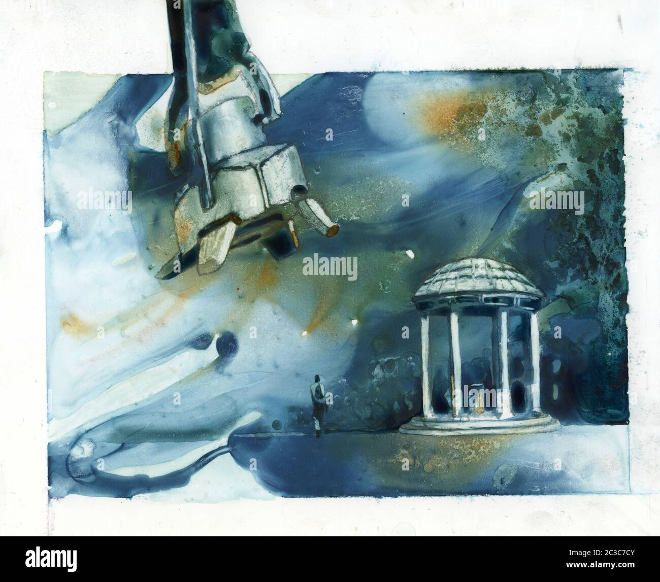 UNC Old Well in Chapel Hill being attacked by robot foot- North Carolina.  Watercolor painting UNC Well NC university robot attack funny art Stock Photo