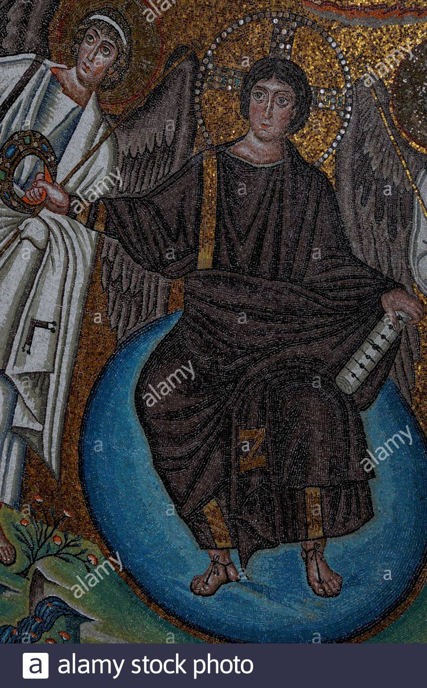 Christ the Redeemer: against a background of golden tesserae, a young and beardless Jesus, flanked by archangels and seated on a vivid blue globe, holds a scroll with seven seals in one hand and a triumphal crown in the other, in this detail of the superb Byzantine mosaic filling the apse dome of the 6th century AD Basilica di San Vitale at Ravenna, Emilia-Romagna, Italy.   The mosaic dates from within a few years of Byzantium's capture of Ravenna from the Ostrogoths in 540 AD.  The city is now Western Europe's greatest centre for the study of Byzantine art and architecture. Stock Photo