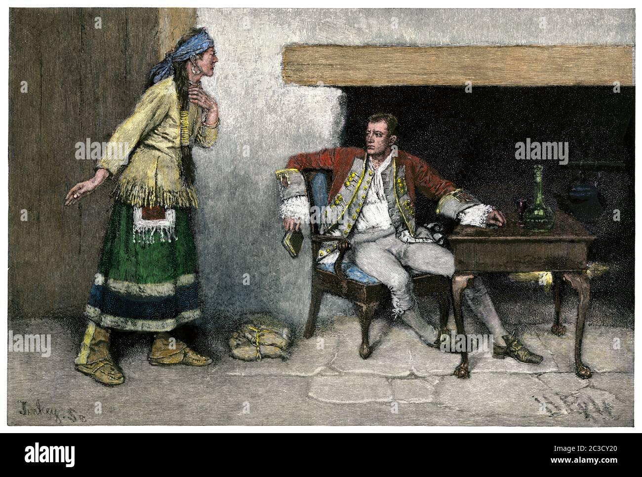 Ojibwa woman disclosing Pontiac's plot to Major Gladwyn, 1762. Hand-colored woodcut of a Howard Pyle illustration Stock Photo