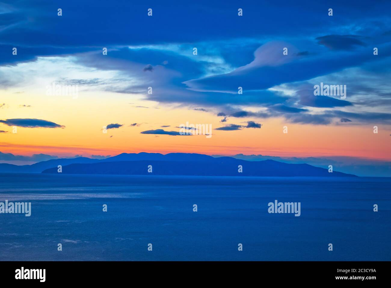 Kvarner bay and island of Krk on open sea at golden dawn view Stock Photo