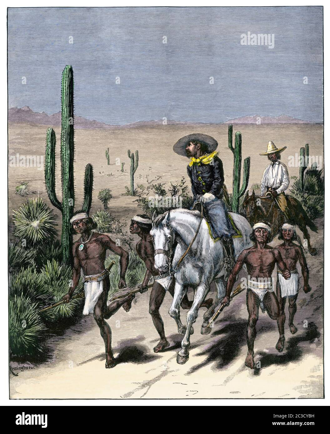 US Army with Native American trackers following Geronimo's trail, Apache Wars, 1886. Hand-colored woodcut Stock Photo