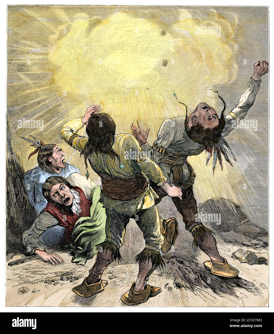 Modocs killed by an exploding shell in their Lava Beds stronghold, Modoc War, 1870s. Hand-colored woodcut Stock Photo