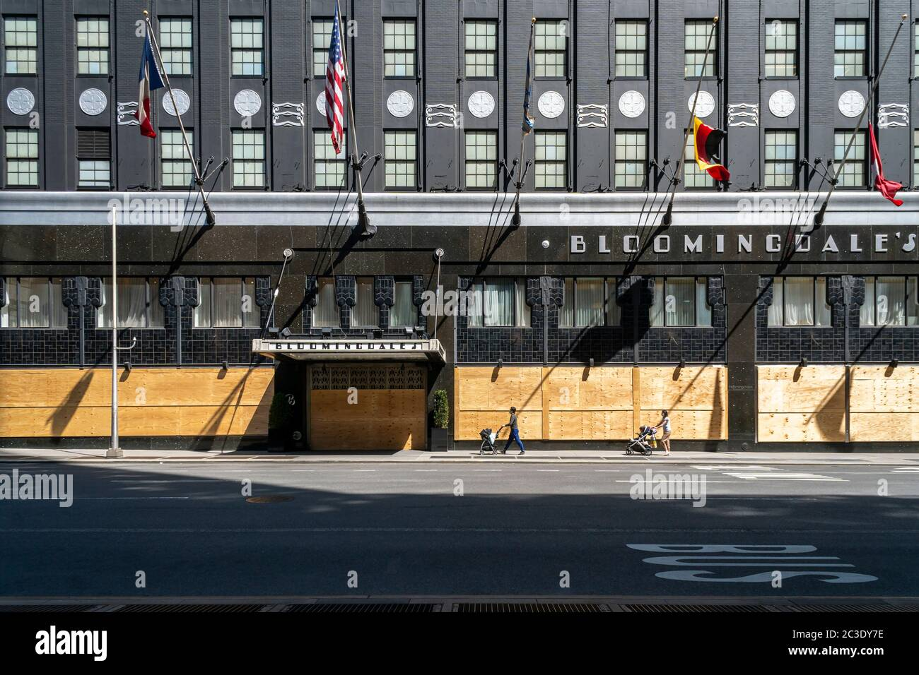 Boarded up closed Bloomingdale's department store in New York on Sunday, June 14, 2020. (© Richard B. Levine) Stock Photo