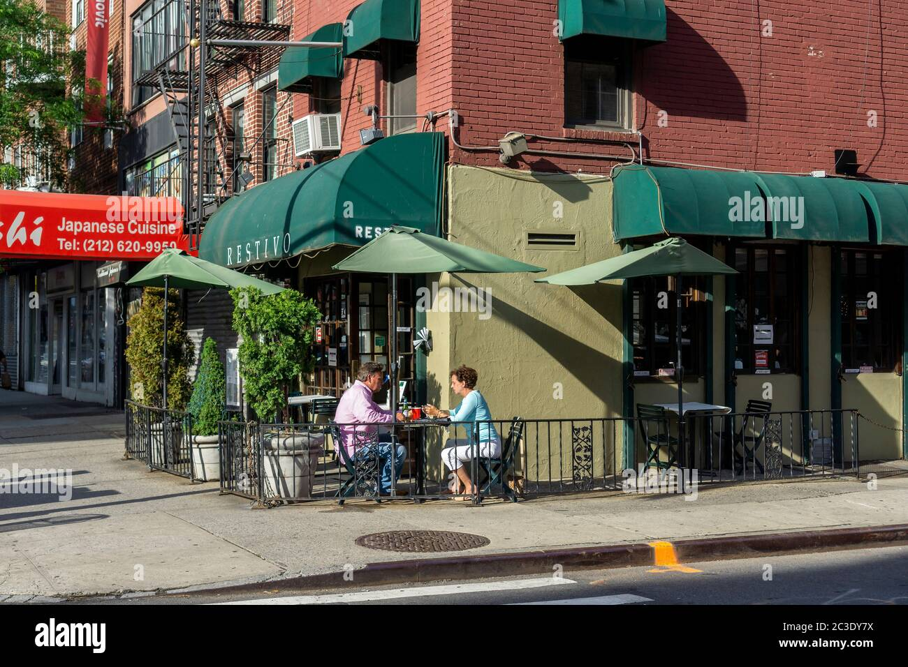 Restivo restaurant in Chelsea in New York outdoor dining, seen on Thursday, June 18, 2020. Phase Two takes effect June 22 in New York City and will allow some outdoor dining.  (© Richard B. Levine) Stock Photo