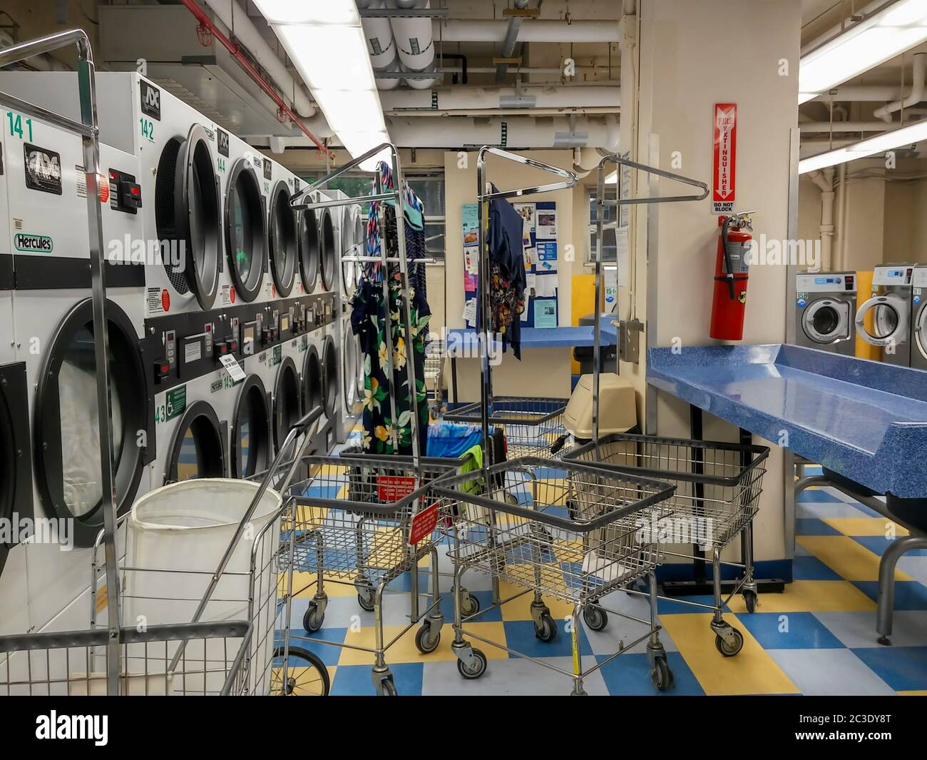 Dryers and carts in a laundry room in New York on Thursday, June 11, 2020. (©Richard B. Levine) Stock Photo