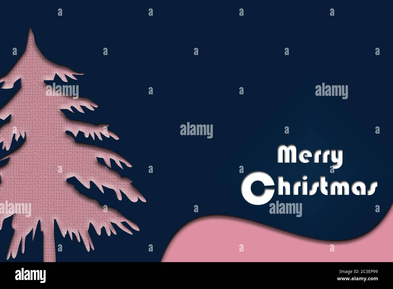 Contemporary Stylish Modern Christmas Card In Blue Pink Scandinavian Trendy Colours With Tree And Text Merry Christmas Minimal Template Design For Greeting Cards Banner Marketing 3d Illustration Stock Photo Alamy