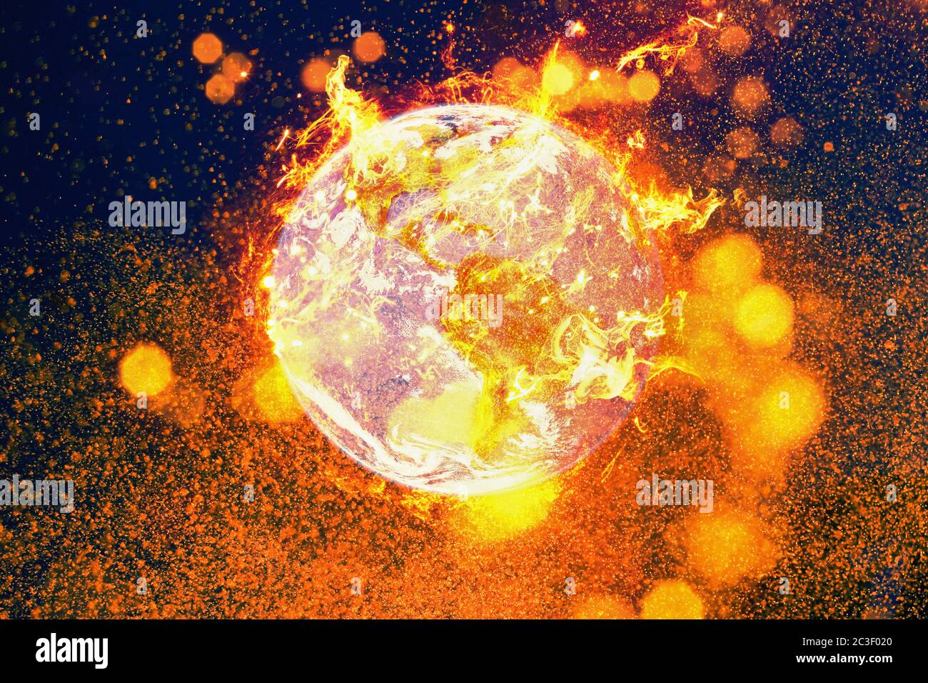 Burning planet earth fire inferno. Global warming and environmental disaster concept. Stock Photo