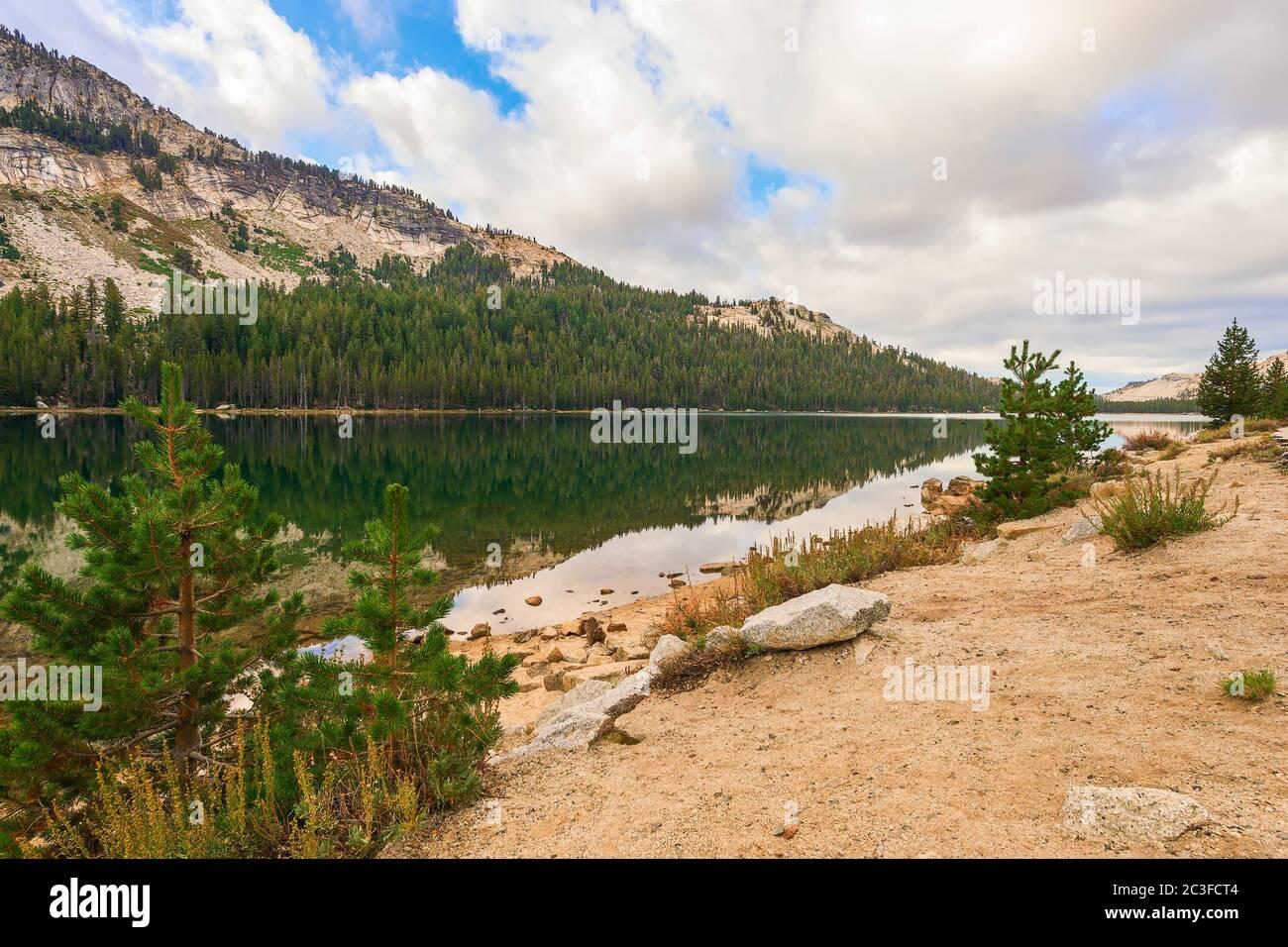 View of alpine Tenaya lake in Yosemite National Park. California.USA Stock Photo