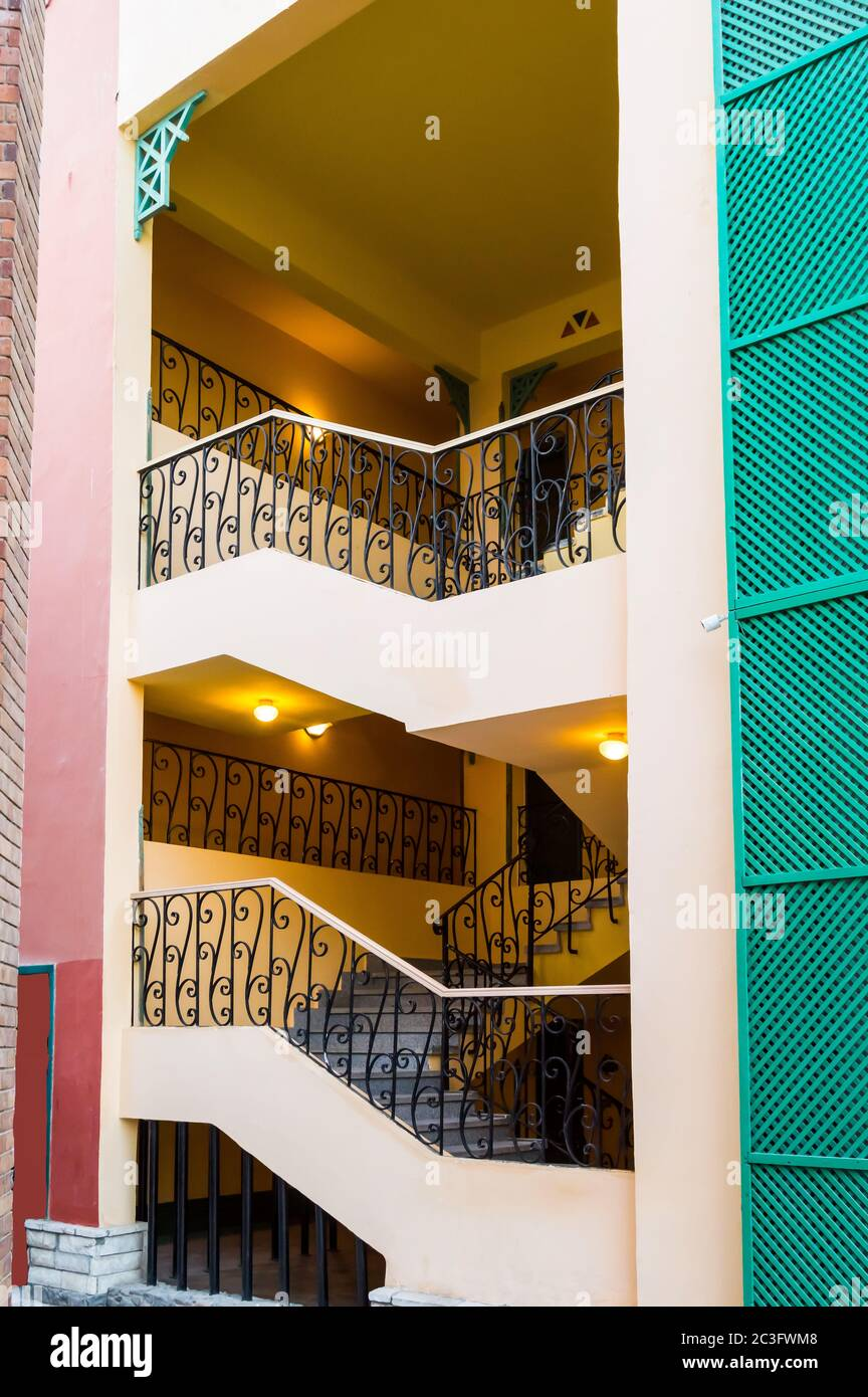 Exterior Staircase With Wrought Iron Balustrade A Hotel In Hurghada Egypt Stock Photo Alamy