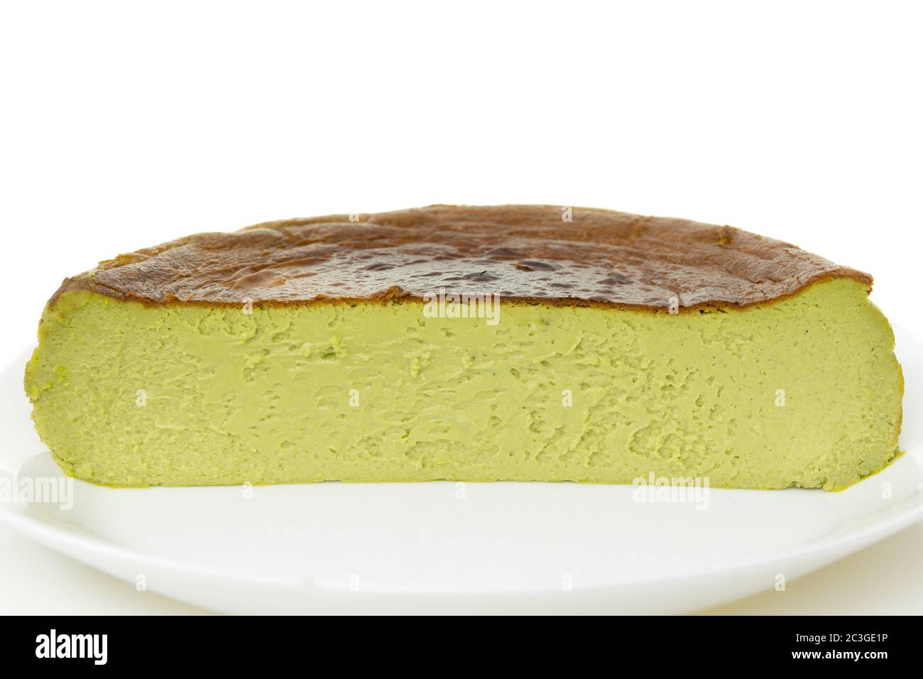 Half Cup Of Matcha Basque Burnt Cheesecake Isolated On White Background Stock Photo Alamy
