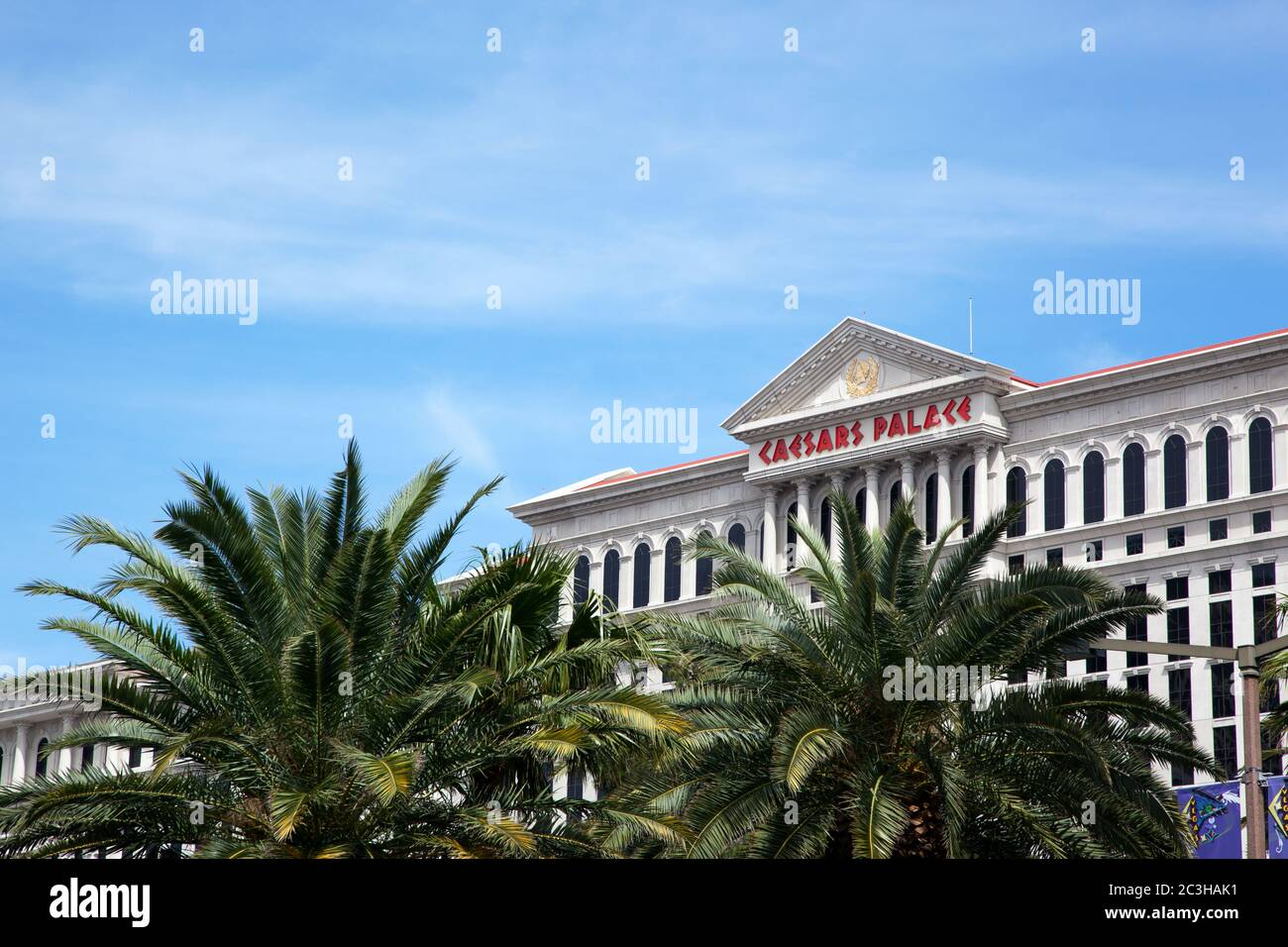 LAS VEGAS, USA - APRIL 18: The famous Caesers Palace Hotel. On 14th May 2012, the owners, Caesers Enertainment Corp. opened its first casino in in 5 y Stock Photo