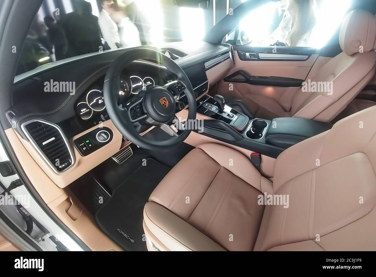Moscow Russia May 09 2019 Beige And Black Luxury Interior Of Completely New White Porsche Cayenne In A Presentation Box Stock Photo Alamy