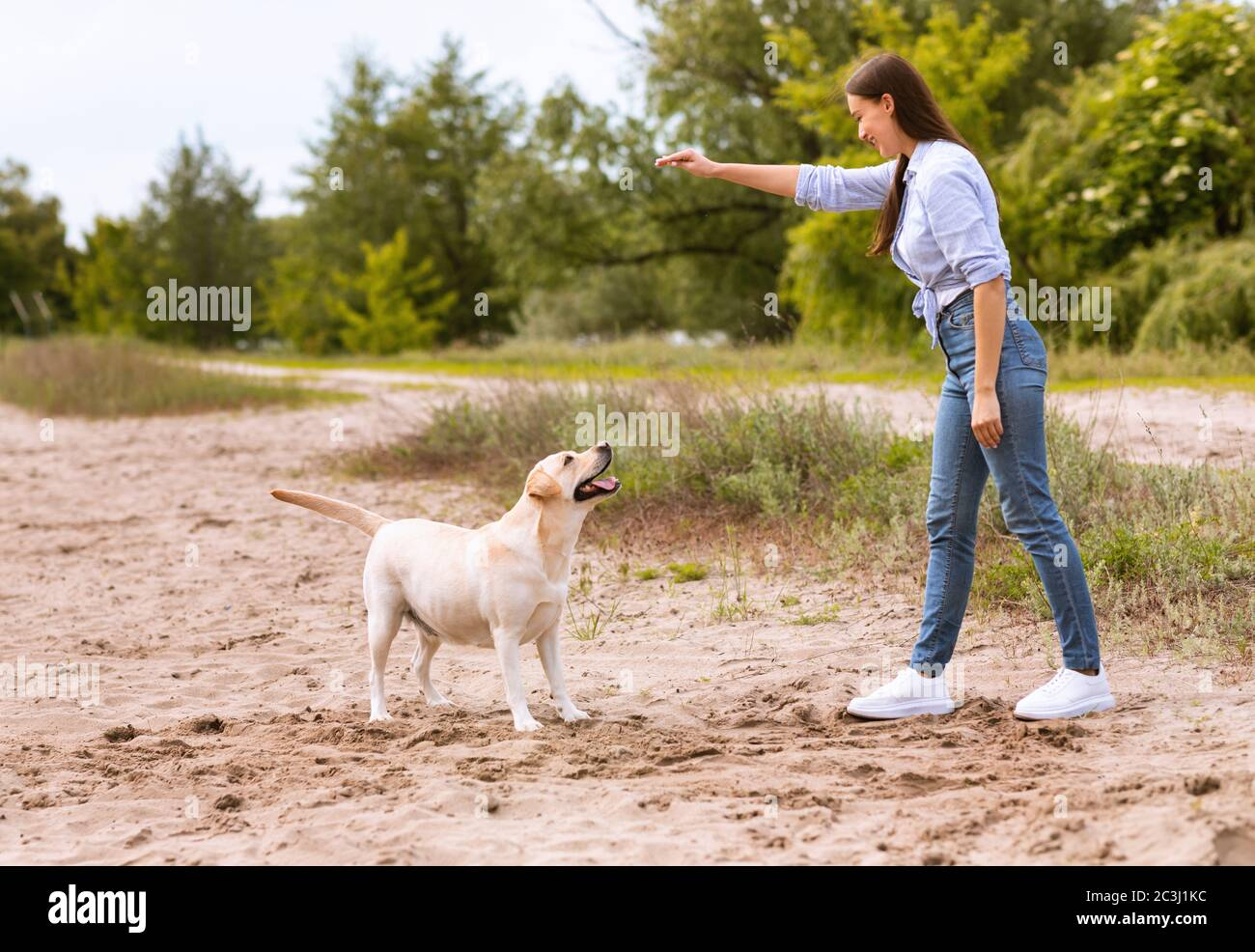 Woman giving a command to her obedient dog Stock Photo