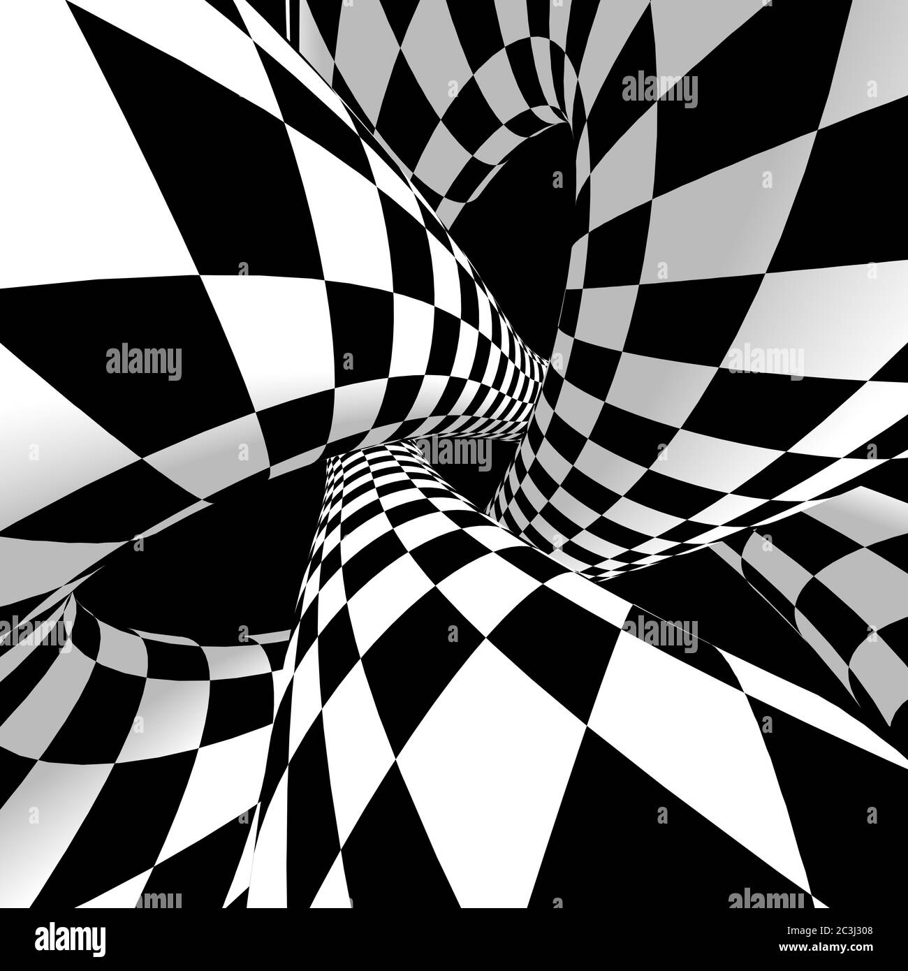 Optical illusion. 3D Rendering. Abstract 3d pop art illustration. Stock Photo
