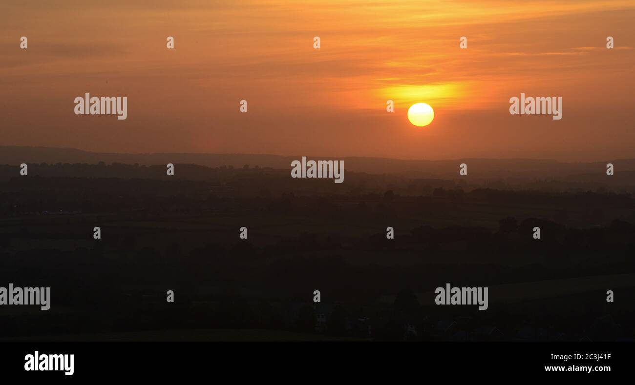 Sunset across Somerset levels in the English countryside Stock Photo