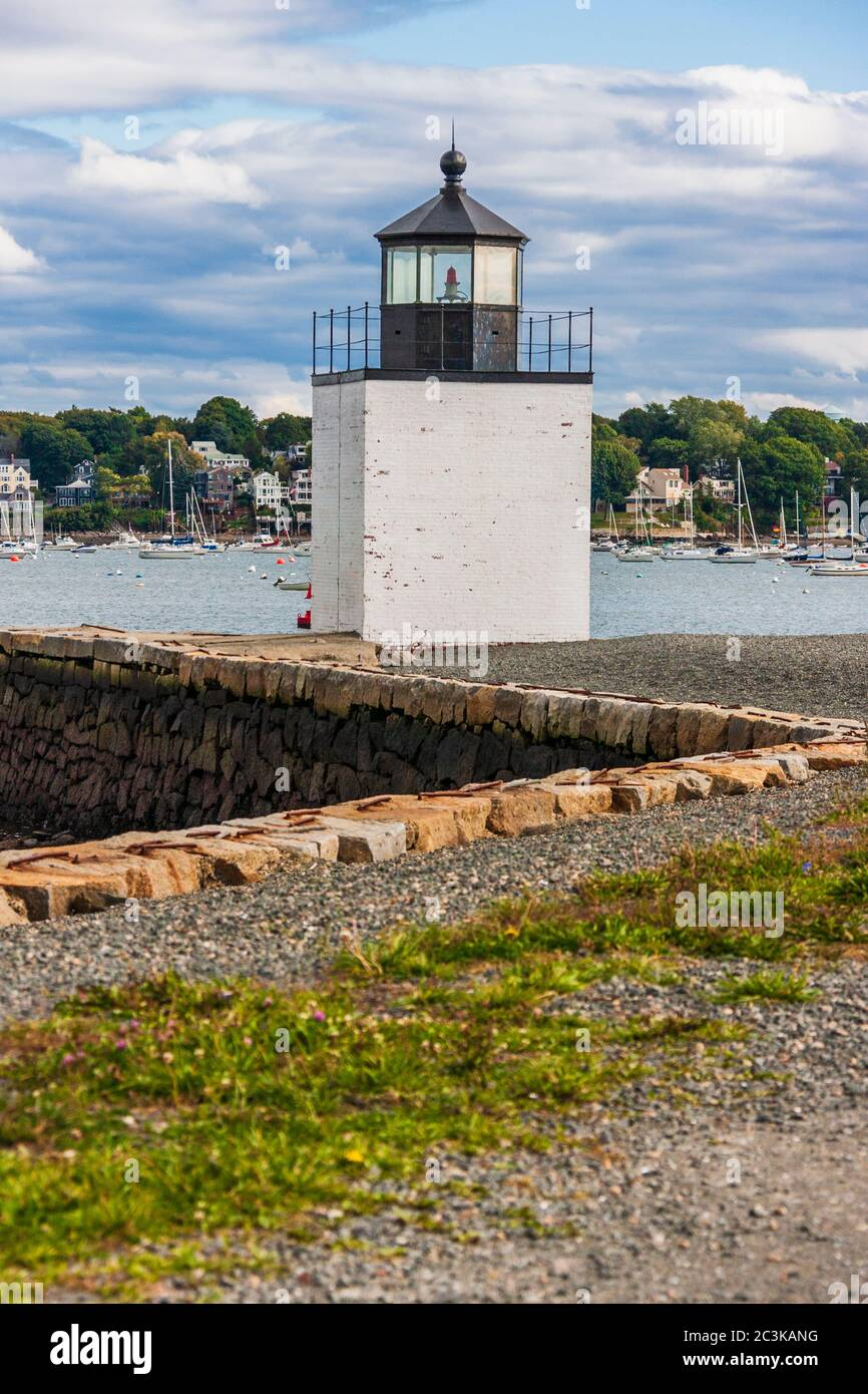 Derby Wharf Light in Salem, MA, built in 1870. The lighthouse is owned by the NPS and is in the Salem Maritime National Historic Site. Stock Photo