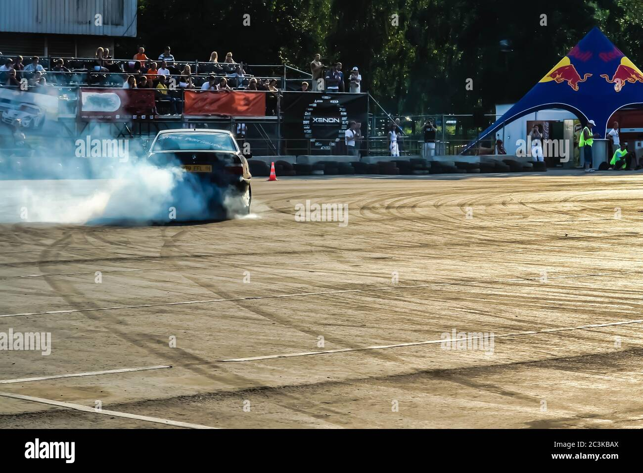 Moscow Russia May 25 2019 Black Drift Bmw Tuned Car Drifting In The Fenced Area Burnout Back Side Stock Photo Alamy