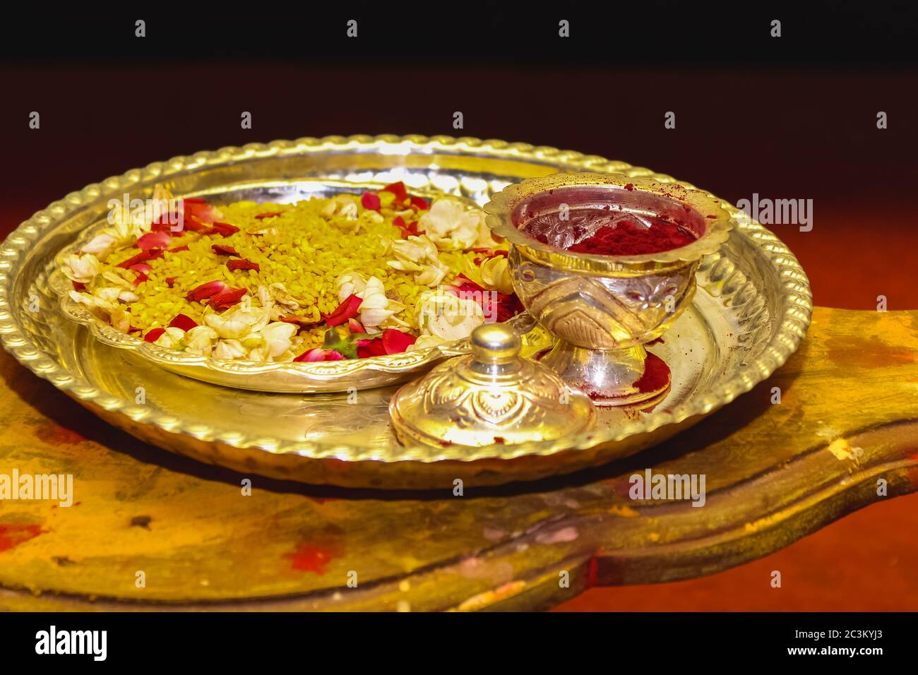 Silver Plates Closeup Of A Traditional Silver Plate With Spices And Riceat A South Indian Hindu Wedding In India Stock Photo Alamy