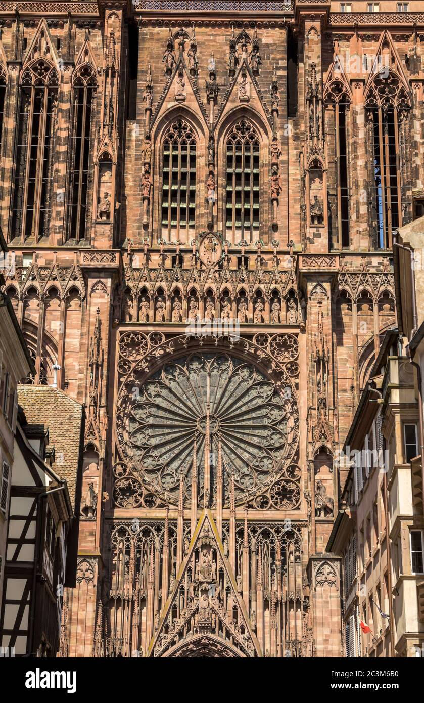 Cathedral of Our Lady (Notre Dame) of Strasbourg in Alsace. The historic center, including the cathedral, of Strasbourg is UNESCO World Heritage Site Stock Photo