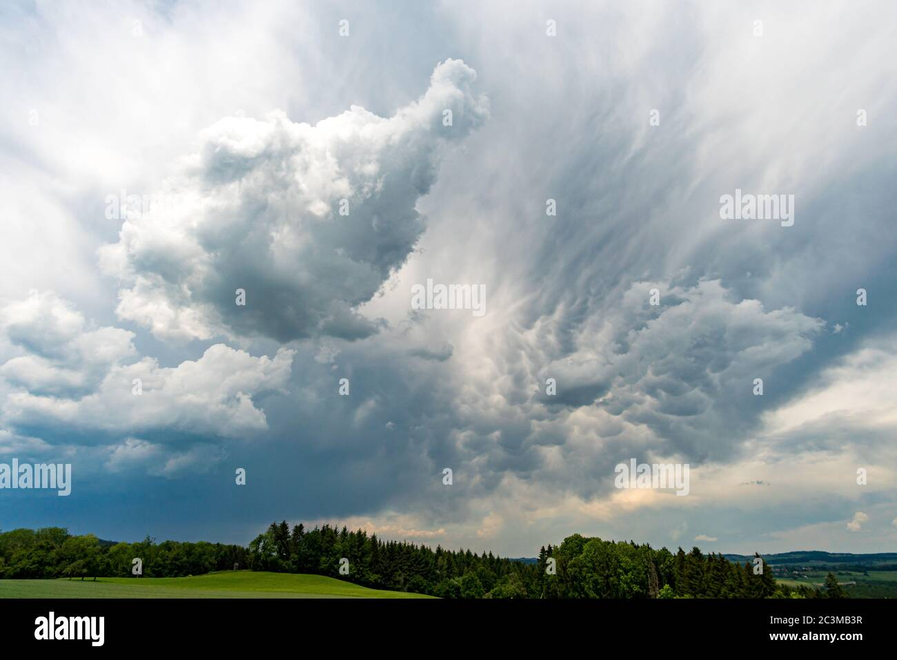 Stormy clouds in Upper Swabia on Lake Constance Stock Photo