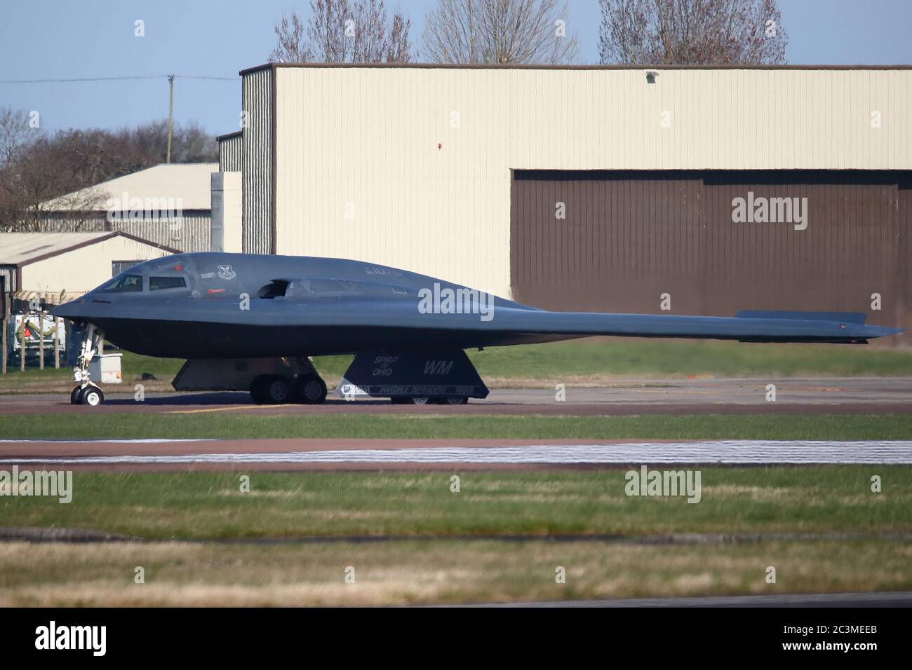 A USAF Northrop Grumman B-2 Stealth Bomber preparing for take off during an exercise at RAF Fairford, UK Stock Photo