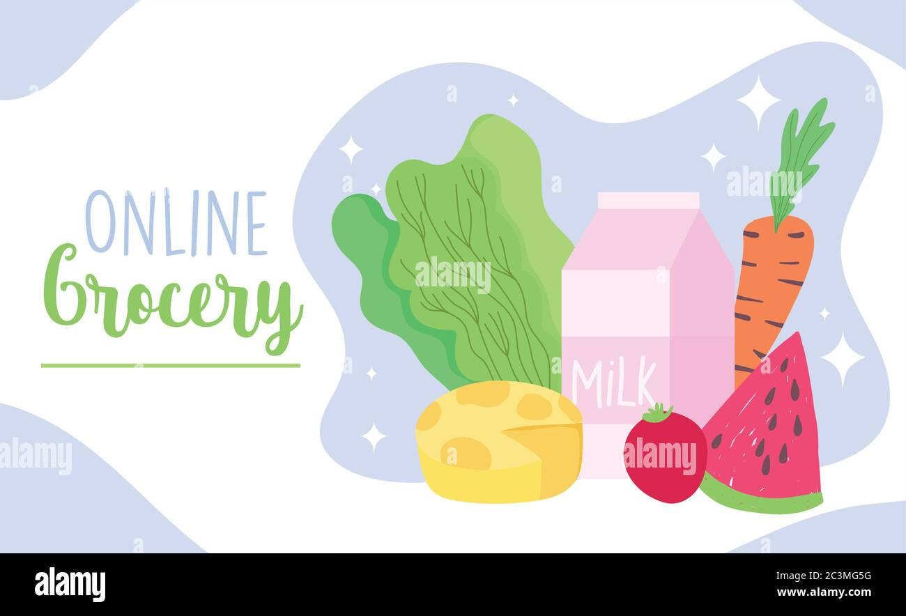 Online Market Fresh Products Food Grocery Shop Home Delivery Vector Illustration Stock Vector Image Art Alamy