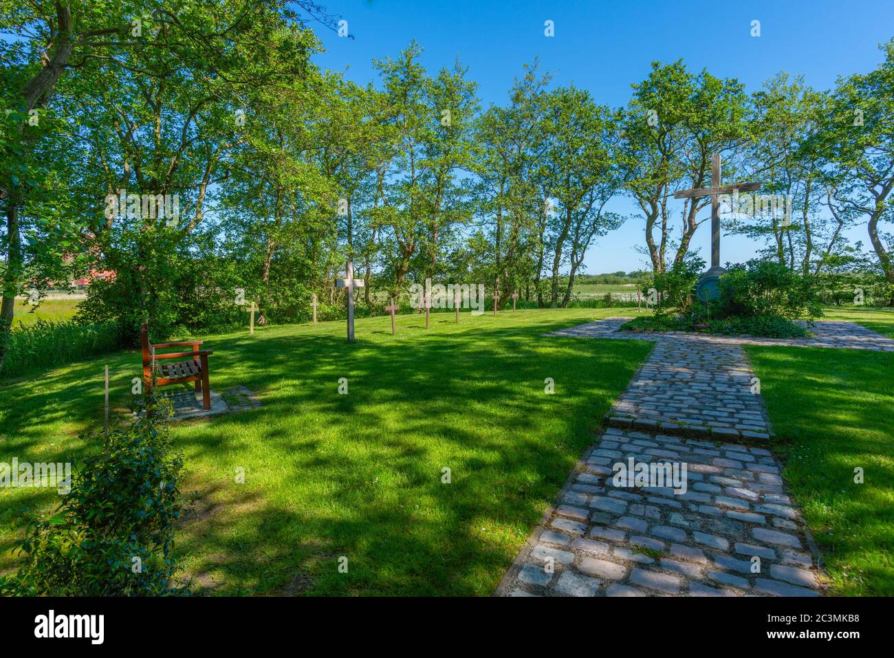 Cemetery for the Nameless drowned persons, North Sea island of Neuwerk, Federal State Hamburg, North Germany, Europe, UNESCO World heritage, Stock Photo