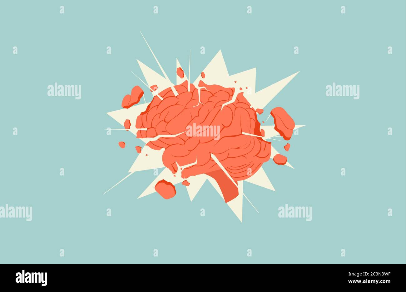 Exploding Flying Apart Parts Brain Illustration Concept Information Overload Lack Of Calm Thinking Creative Ideological Stock Vector Image Art Alamy