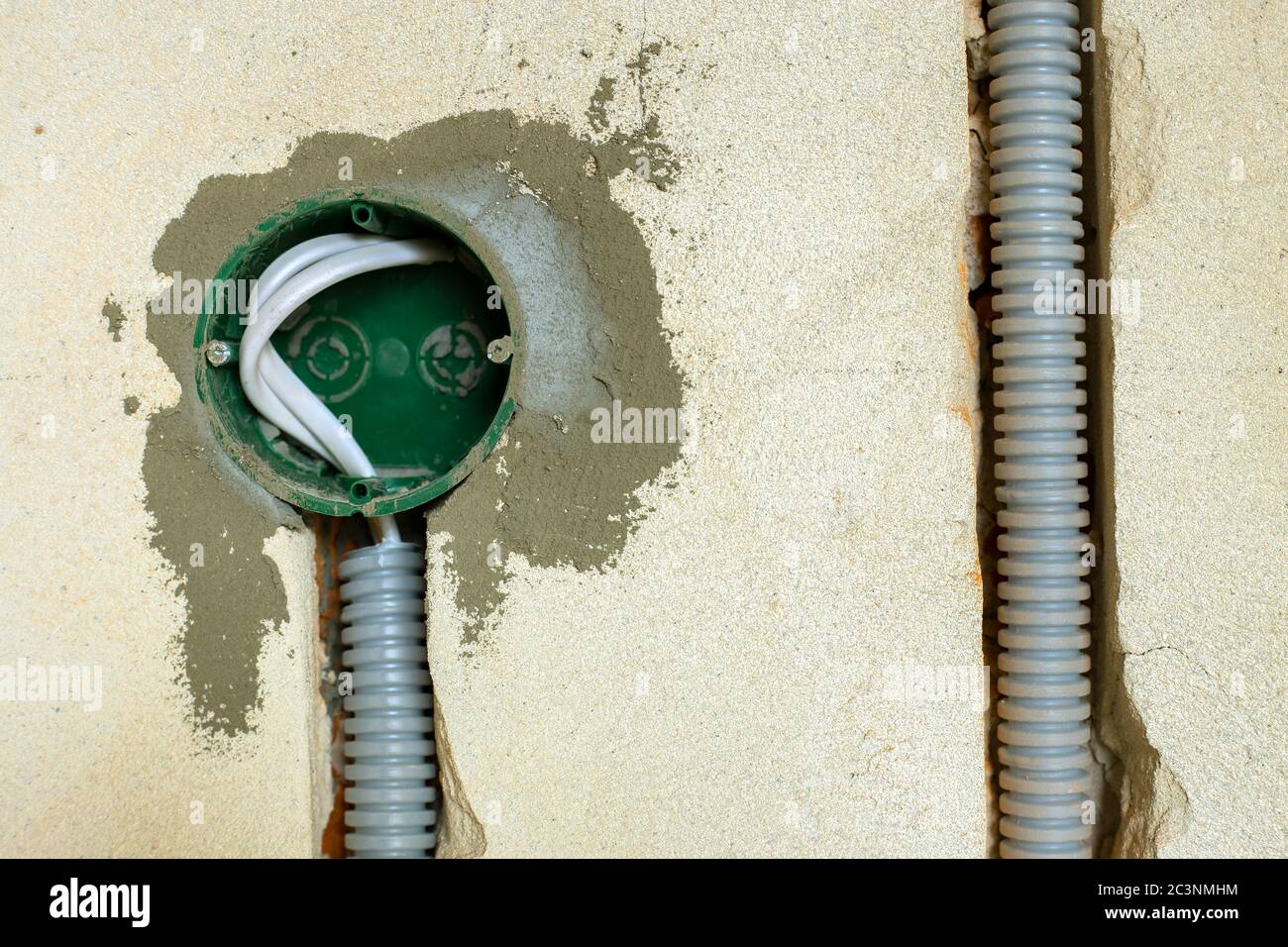 New Electrical Wiring Installation Plastic Boxe And Electrical Cable For Future Outlet Sockets On The Wall Renovation Concept Stock Photo Alamy