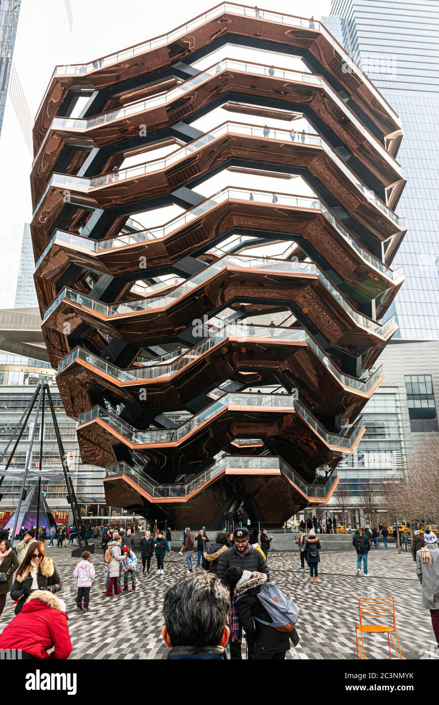 New York City, USA - 26 December 2019: Vertical view of the vessel in Hudson Yards New York City on a cold and overcast December day. Stock Photo