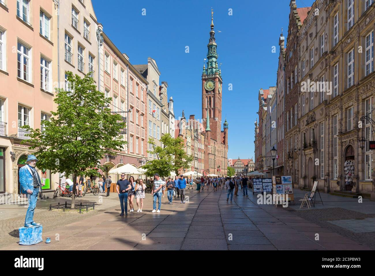 Gdansk, Poland - June 14, 2020: Crowded famous main street of the old town in Gdansk at sunny day Stock Photo