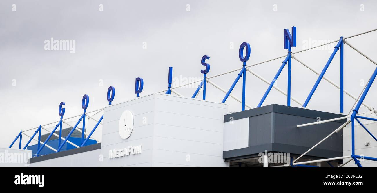 Looking up at the Goodison wording on the top of the Park End stand at Everton FC, England seen in June 2020. Stock Photo