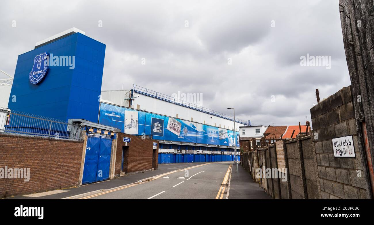 Bullens Road stand at Goodison Park (home of Everton FC) seen in Liverpool during June 2020. Stock Photo