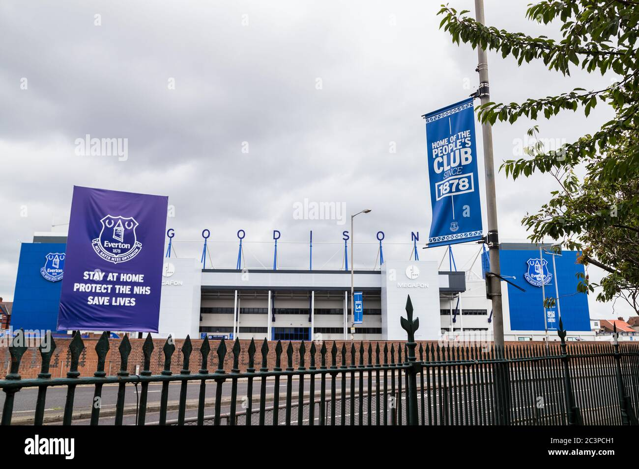 Goodison Park stadium (home of Everton FC) seen in June 2020 from the edge of Stanley Park. Stock Photo