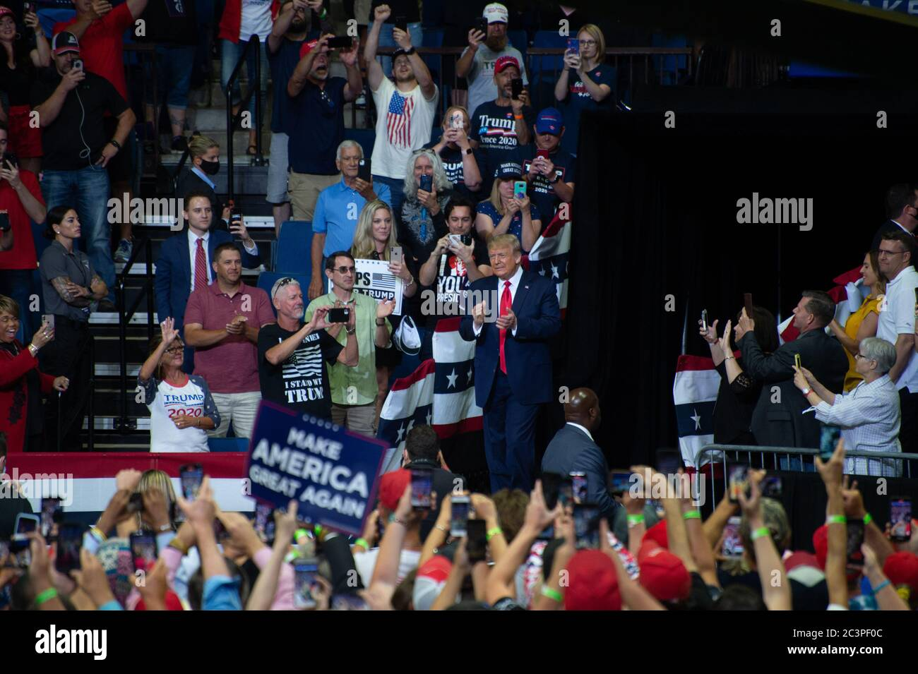 TULSA, Oklahoma, USA.  - June 20, 2020: US President Donald J. Trump holds campaign rally in Bank of Oklahoma Center. Makes his grand enterance to the center as Trump Supporters cheer. Stock Photo