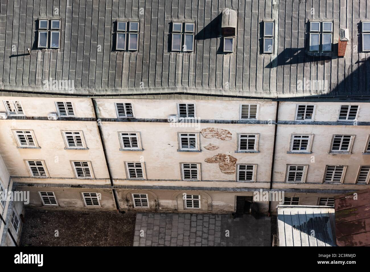 Aerial View Of Old House With Mansard Windows In Lviv Ukraine Stock Photo Alamy