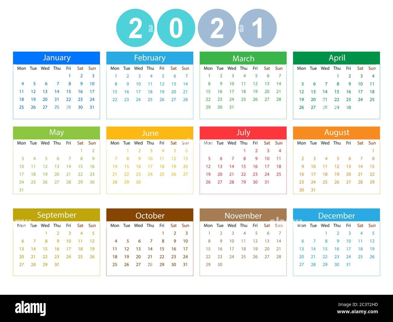 2021 calendar, week starts Monday. Vector illustration, flat