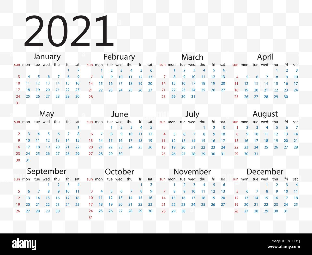20 calendar, week starts Sunday. Vector illustration, flat ...