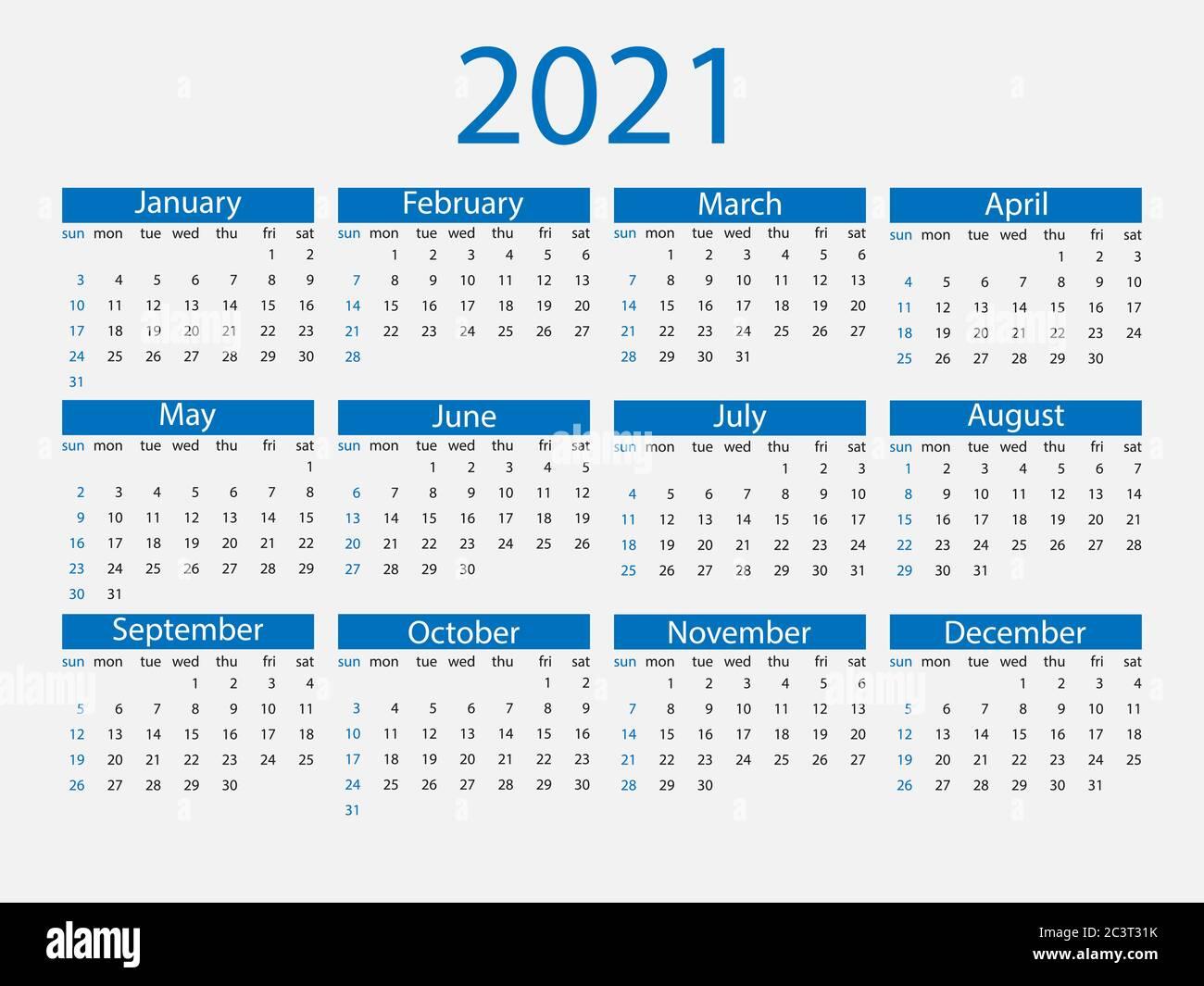 Calendar Weeks 2021 2021 calendar, week starts Sunday. Vector illustration, flat